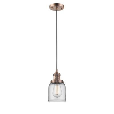 Witherington Glass Bell 1-Light Mini Pendant Color: Antique Copper, Shade Color: Clear, Size: 10 H x 6 W