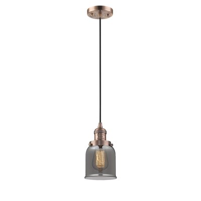 Witherington Glass Bell 1-Light Mini Pendant Finish: Antique Copper, Shade Color: Smoked, Size: 10 H x 6 W