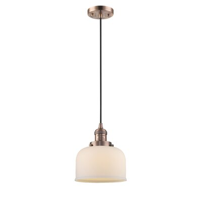 Witherington Glass Bell 1-Light Mini Pendant Finish: Antique Copper, Shade Color: Matte White Cased, Size: 10 H x 8 W