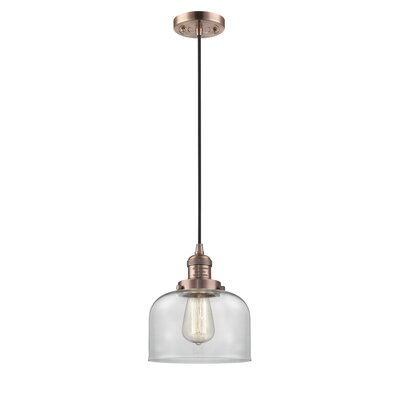 Witherington Glass Bell 1-Light Mini Pendant Finish: Antique Copper, Shade Color: Clear, Size: 10 H x 8 W