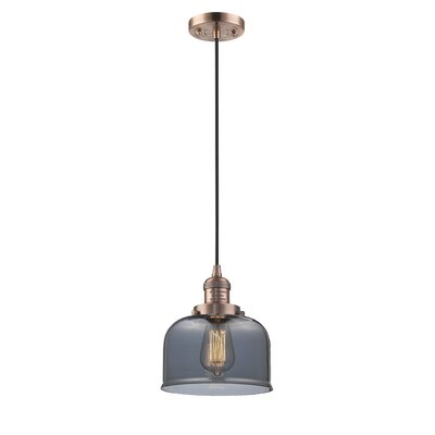 Witherington Glass Bell 1-Light Mini Pendant Color: Antique Copper, Shade Color: Smoked, Size: 10 H x 8 W