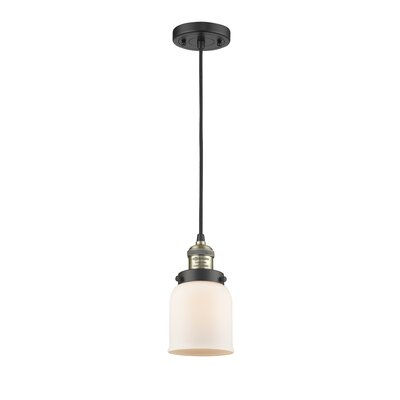 Glass Bell 1-Light Mini Pendant Finish: Black/Brushed Brass, Shade Color: Matte White Cased, Size: 10 H x 6 W