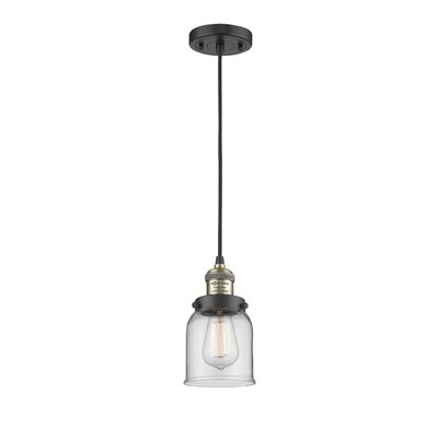 Witherington Glass Bell 1-Light Mini Pendant Color: Black Brushed Brass, Shade Color: Clear, Size: 10 H x 6 W