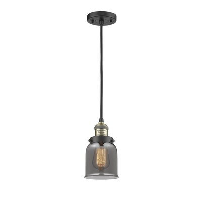 Witherington Glass Bell 1-Light Mini Pendant Finish: Black/Brushed Brass, Shade Color: Smoked, Size: 10 H x 6 W