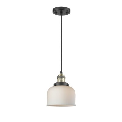 Witherington Glass Bell 1-Light Mini Pendant Color: Black Brushed Brass, Shade Color: Matte White Cased, Size: 10 H x 8 W