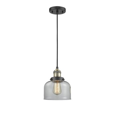 Witherington Glass Bell 1-Light Mini Pendant Color: Black Brushed Brass, Shade Color: Clear, Size: 10 H x 8 W