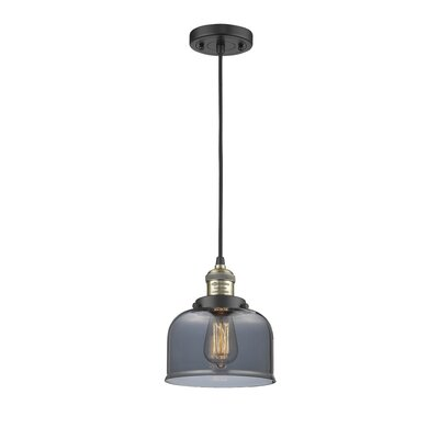 Witherington Glass Bell 1-Light Mini Pendant Color: Black Brushed Brass, Shade Color: Smoked, Size: 10 H x 8 W
