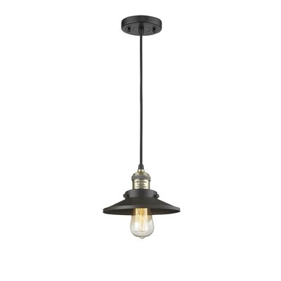 Railroad Shade 1-Light Mini Pendant Finish: Black/Brushed Brass