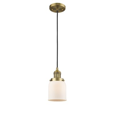 Glass Bell 1-Light Mini Pendant Finish: Brushed Brass, Shade Color: Matte White Cased, Size: 10 H x 6 W