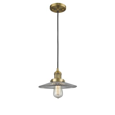 Holophane Glass 1-Light Mini Pendant Finish: Brushed Brass