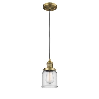 Witherington Glass Bell 1-Light Mini Pendant Color: Brushed Brass, Shade Color: Clear, Size: 10 H x 6 W