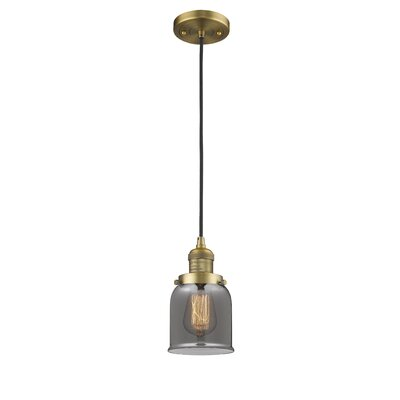 Witherington Glass Bell 1-Light Mini Pendant Color: Brushed Brass, Shade Color: Smoked, Size: 10 H x 6 W
