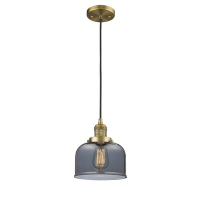 Witherington Glass Bell 1-Light Mini Pendant Color: Brushed Brass, Shade Color: Smoked, Size: 10 H x 8 W