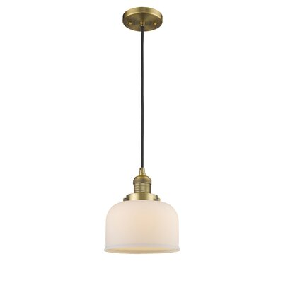 Witherington Glass Bell 1-Light Mini Pendant Finish: Brushed Brass, Shade Color: Matte White Cased, Size: 10 H x 8 W