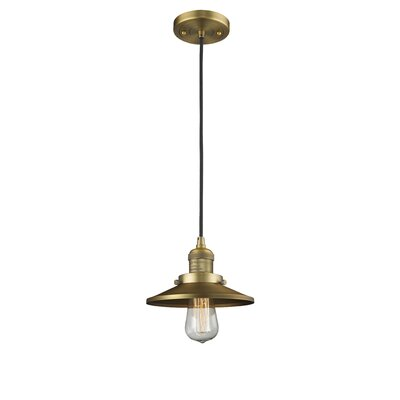 Railroad Shade 1-Light Mini Pendant Finish: Brushed Brass