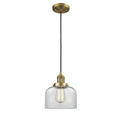 Witherington Glass Bell 1-Light Mini Pendant Color: Brushed Brass, Shade Color: Clear, Size: 10 H x 8 W