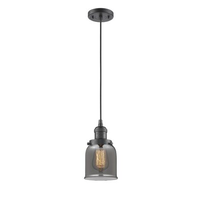 Witherington Glass Bell 1-Light Mini Pendant Finish: Oiled Rubbed Bronze, Shade Color: Smoked, Size: 10 H x 6 W