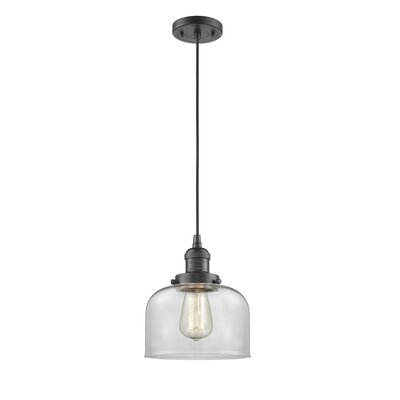 Witherington Glass Bell 1-Light Mini Pendant Finish: Oiled Rubbed Bronze, Shade Color: Clear, Size: 10 H x 8 W