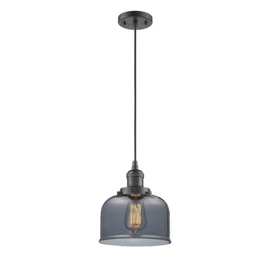 Witherington Glass Bell 1-Light Mini Pendant Finish: Oiled Rubbed Bronze, Shade Color: Smoked, Size: 10 H x 8 W