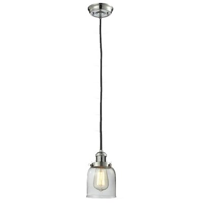 Glass Bell 1-Light Mini Pendant Size: 10 H x 8 W, Finish: Polished Nickel, Shade Color: Matte White Cased