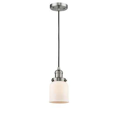 Witherington Glass Bell 1-Light Mini Pendant Color: Brushed Satin Nickel, Shade Color: Matte White Cased, Size: 10 H x 6 W