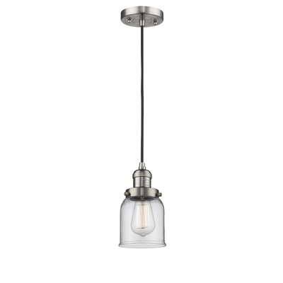 Witherington Glass Bell 1-Light Mini Pendant Color: Brushed Satin Nickel, Shade Color: Clear, Size: 10 H x 6 W