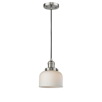 Witherington Glass Bell 1-Light Mini Pendant Color: Brushed Satin Nickel, Shade Color: Matte White Cased, Size: 10 H x 8 W