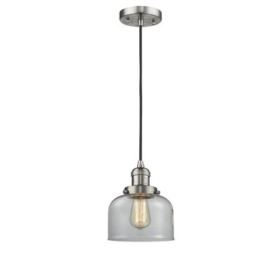 Witherington Glass Bell 1-Light Mini Pendant Color: Brushed Satin Nickel, Shade Color: Clear, Size: 10 H x 8 W