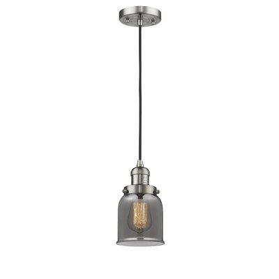 Witherington Glass Bell 1-Light Mini Pendant Color: Brushed Satin Nickel, Shade Color: Smoked, Size: 10 H x 6 W