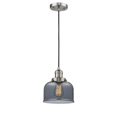 Witherington Glass Bell 1-Light Mini Pendant Color: Brushed Satin Nickel, Shade Color: Smoked, Size: 10 H x 8 W