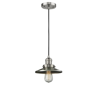 Railroad Shade 1-Light Mini Pendant Finish: Satin Nickel