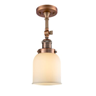 Bell Glass 1-Light Semi Flush Mount Finish: Antique Copper, Shade Color: Matte White Cased, Size: 11 H x 5 W