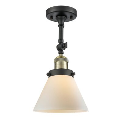 Glass Cone 1-Light Semi Flush Mount Finish: Black Brushed Brass, Shade Color: Matte White Cased, Size: 12 H x 8 W