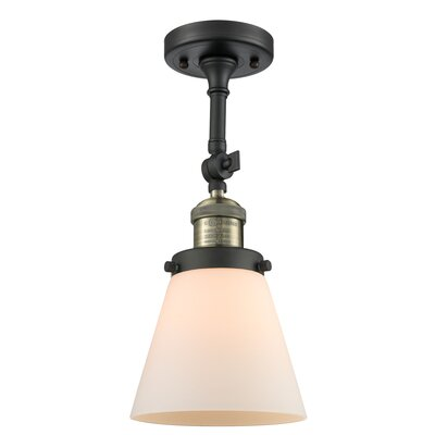 Glass Cone 1-Light Semi Flush Mount Finish: Black Brushed Brass, Shade Color: Matte White Cased, Size: 11 H x 6.25 W