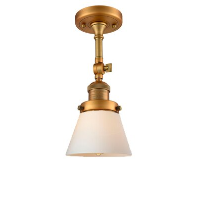Glass Cone 1-Light Semi Flush Mount Finish: Brushed Brass, Shade Color: Matte White Cased, Size: 11 H x 6.25 W