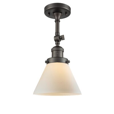Glass Cone 1-Light Semi Flush Mount Finish: Oil Rubbed Bronze, Shade Color: Matte White Cased, Size: 12 H x 8 W