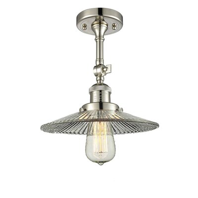 Holophane Glass 1-Light Semi Flush Mount Finish: Polished Nickel