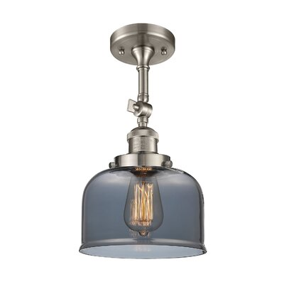 Bell Glass 1-Light Semi Flush Mount Finish: Brushed Satin Nickel, Shade Color: Smoked, Size: 11 H x 8 W
