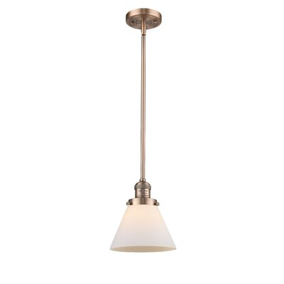 Glass Cone 1-Light Pendant Size: 10 W x 8 D, Shade Color: Smoked, Finish: Antique Copper