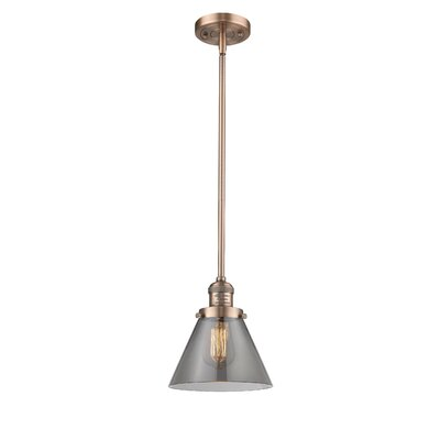 Glass Cone 1-Light Pendant Finish: Antique Copper, Shade Color: Smoked, Size: 10 W x 8 D