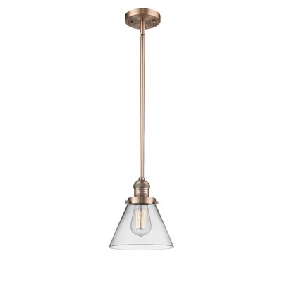 Glass Cone 1-Light Pendant Finish: Antique Copper, Shade Color: Clear, Size: 8.25 W x 6.25 D