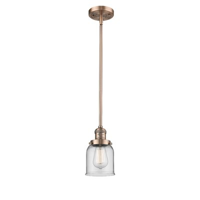 Small Bell 1-Light Mini Pendant Finish: Antique Copper, Shade Color: Clear