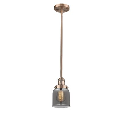 Small Bell 1-Light Mini Pendant Finish: Antique Copper, Shade Color: Smoked
