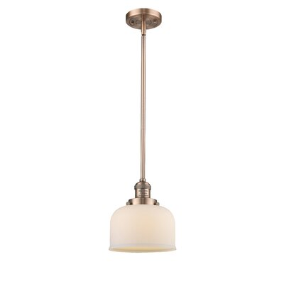 Large Bell 1-Light Mini Pendant Finish: Antique Copper, Shade Color: Matte White Cased