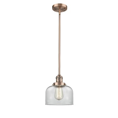 Large Bell 1-Light Mini Pendant Finish: Antique Copper, Shade Color: Clear