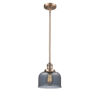 Large Bell 1-Light Mini Pendant Finish: Antique Copper, Shade Color: Smoked