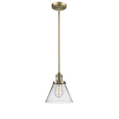 Glass Cone 1-Light Pendant Finish: Brushed Brass, Shade Color: Clear, Size: 10 W x 8 D
