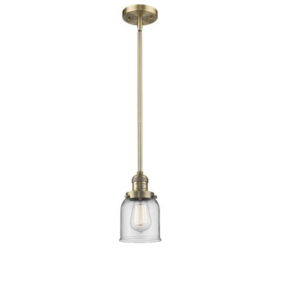 Glass Bell 1-Light Pendant Finish: Brushed Brass, Shade Color: Clear