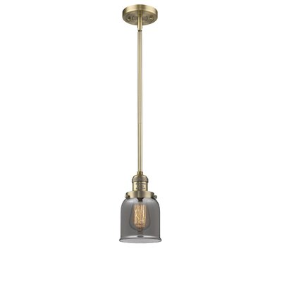 Glass Bell 1-Light Pendant Finish: Brushed Brass, Shade Color: Smoked