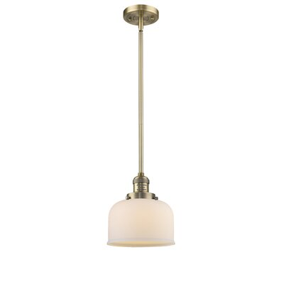 Large Bell 1-Light Mini Pendant Finish: Brushed Brass, Shade Color: Matte White Cased